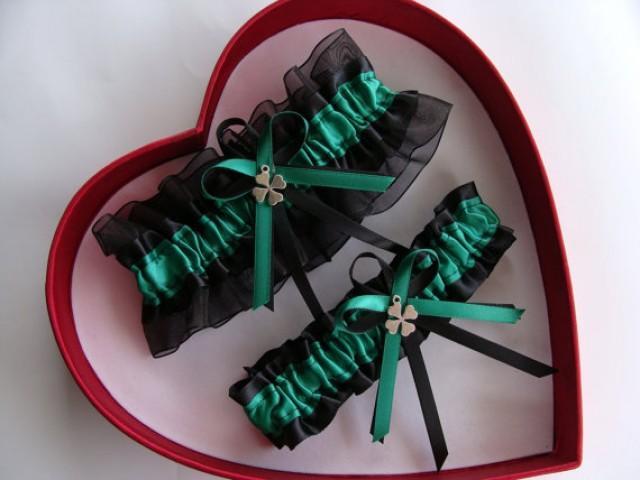wedding photo - NEW Wedding Garters Emerald Black Wedding Garter Set, Select - Keepsake Garter, Toss Garter, Plus Size Garter - 30 Different Charm Selection