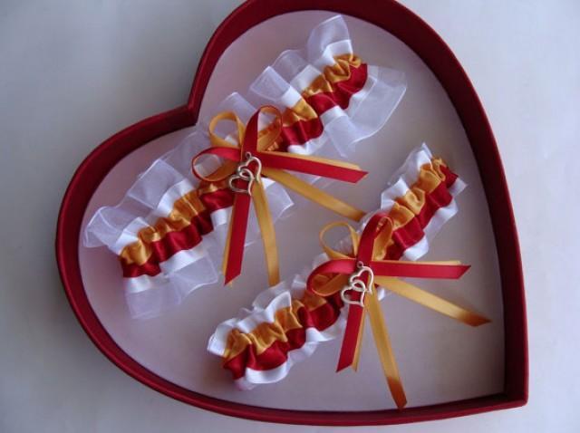 wedding photo - New Wedding Garter, Gold, Red, White Wedding Garter Set, Select Keepsake Garter Toss Garter Plus size/ Regular size
