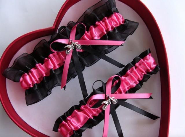 wedding photo - New Wedding Garter Hot Pink Black Motocross Wedding Garter Prom GetTheGoodStuff Motocross Garter Born To Ride
