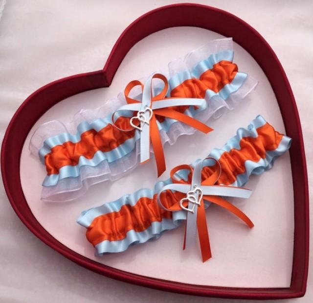 wedding photo - Wedding Garter Orange Light Blue White Wedding Garter Set Double Heart