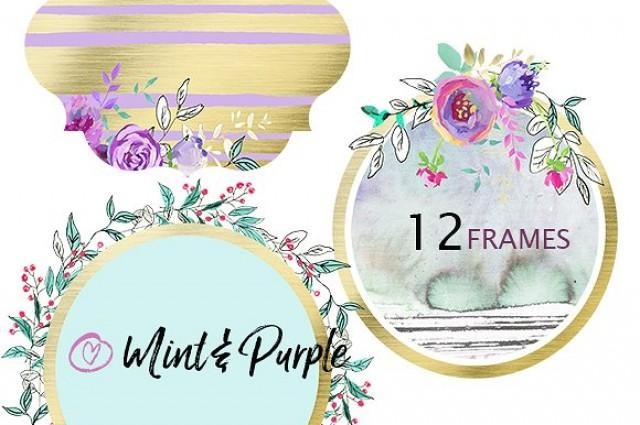 wedding photo - Mint and Purple - floral frames