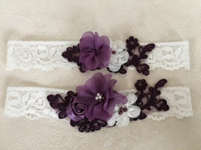 wedding photo - Wedding Garter Set- ivory purple Bridal Garter Set - Keepsake Garter- Toss Garter- Lace Garter- Wedding Garter- Bridal Garter