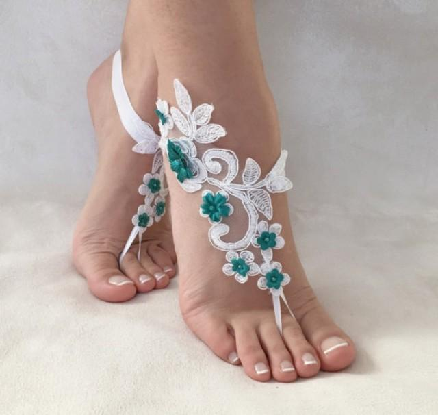 wedding photo - white green flowers lace barefoot sandals, FREE SHIP, beach wedding barefoot sandals, belly dance, lace shoes, bridesmaid gift, beach shoes