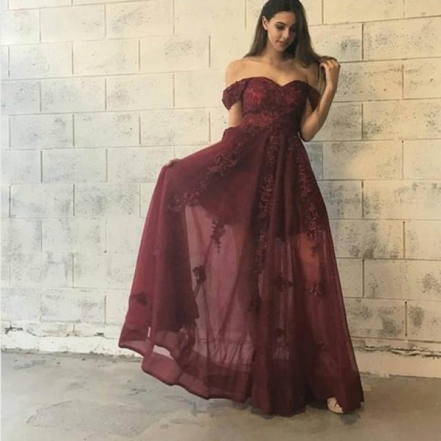 wedding photo - Stylish Burgundy Prom Dress - Off-the-Shoulder Floor-Length with Lace Appliques from Dressywomen