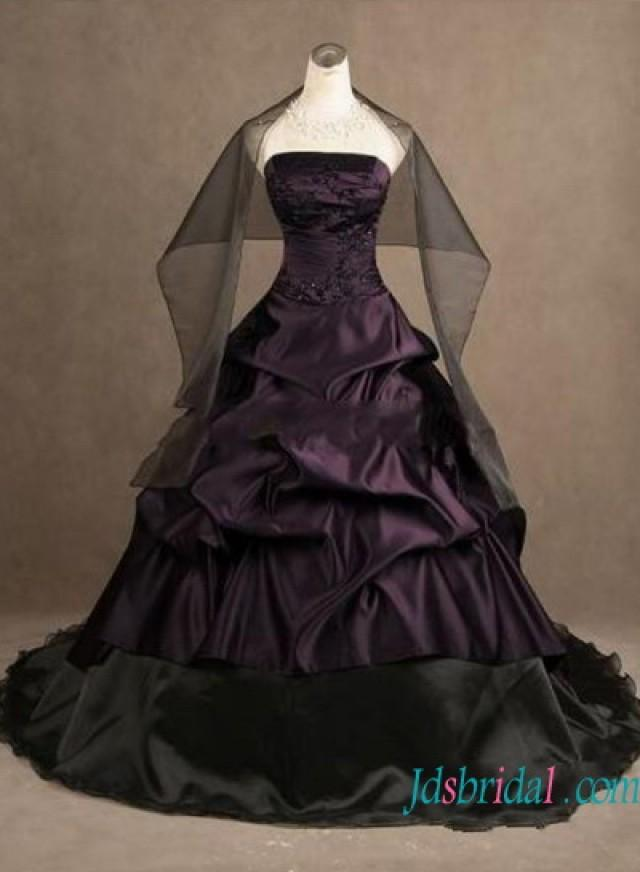 wedding photo - H1242 Gothic eggplant color with black ball gown wedding dress
