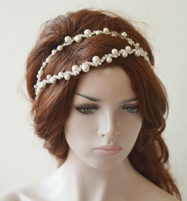 wedding photo - Pearl Wedding headpiece, Bridal headpiece, Wedding Headpiece, Pearl Bridal Headpiece, Bridal Hair Accessory, Hair Jewelry
