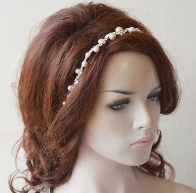 wedding photo - Pearl Headpiece, Pearl Bridal headband, Bridal Hair Accessories, Hair Accessories Wedding, Hair Jewelry