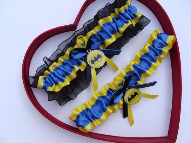 wedding photo - New Handmade Batman Wedding Garter Royal Blue Yellow Black Prom Superhero Garter