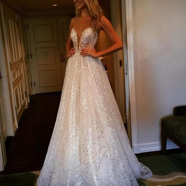 wedding photo - Delicate A-line Wedding Dress - Lace Sequined Jewel Sweep Train Illusion Back