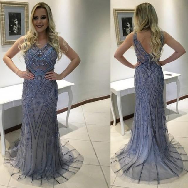wedding photo - Mermaid V-neck Sleeveless Sweep Train Blue Backless Prom Dress with Beading Appliques from Tidetell