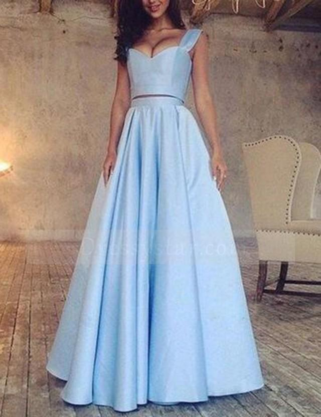 wedding photo - Glamorous A-Line V-Neck Sleeveless Two Piece Ruched Long Prom Dress