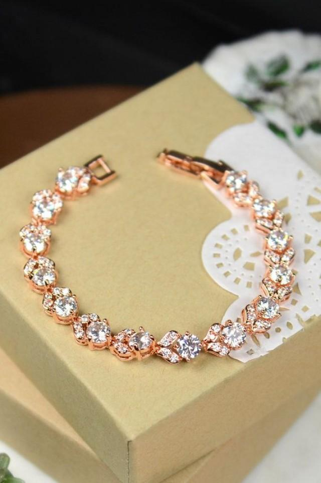 wedding photo - Rose Gold Bridal Bracelet SET - Wedding Bridal Jewelry