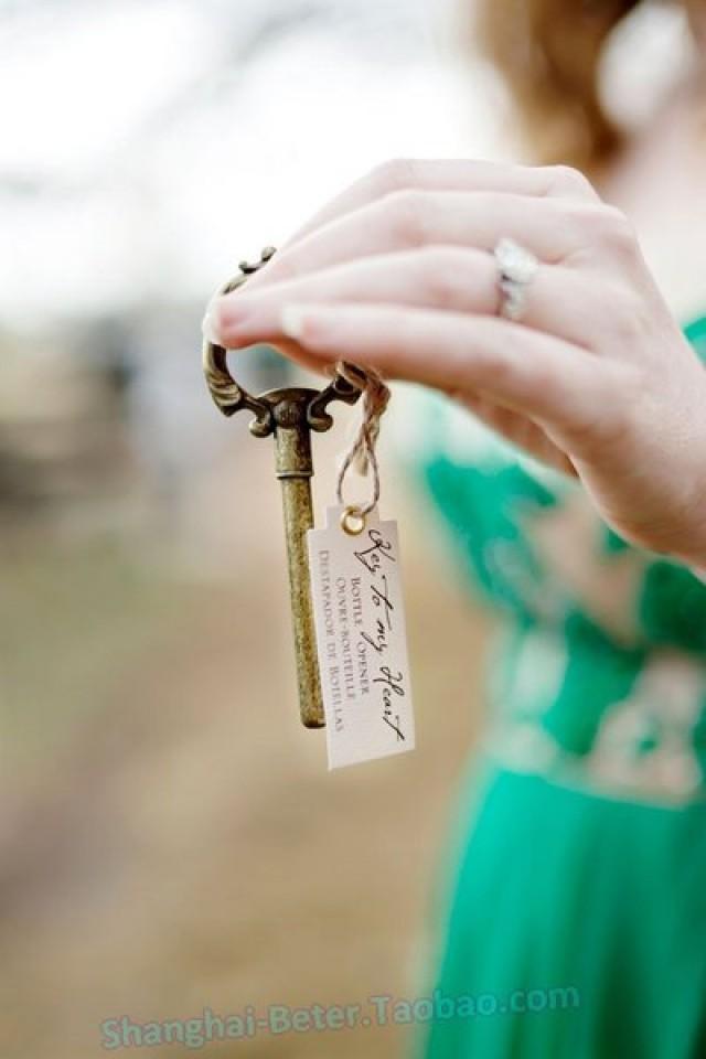 wedding photo - 金色鑰匙開瓶器 復古主題婚禮派對小禮物WJ099春天通往天堂的鑰匙