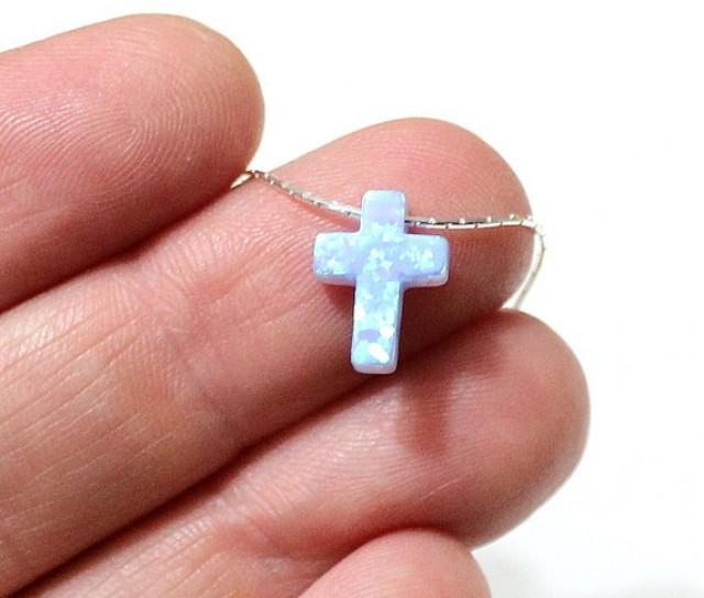 wedding photo - Cross Opal Necklace in blue