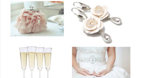 wedding photo - White Rose Wedding Earrings