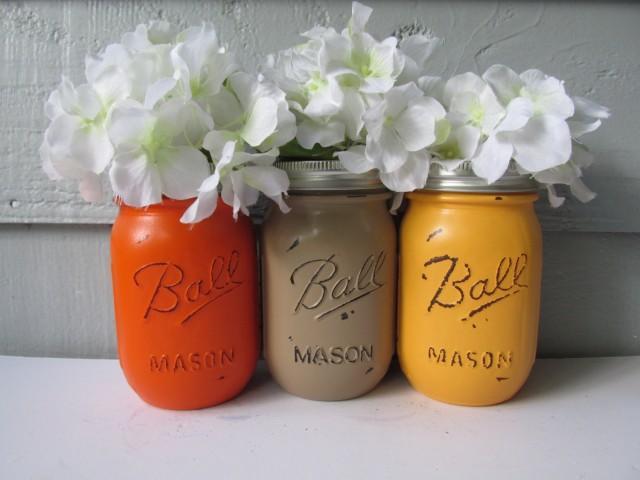 FALL-AUTUMN-THANKSGIVING-Painted and Distressed Ball Mason Jars-Orange, Light Orange, Beige Flower Vases, Utensil Holder, Party Decor