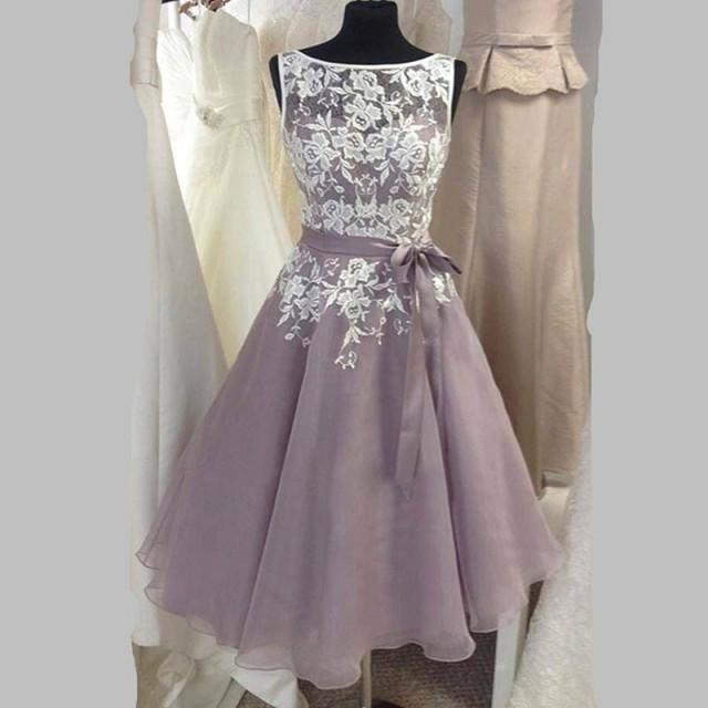 wedding photo - Glamorous Bateau Sleeveless Mid-Calf Gray Bridesmaid Dress with Sash Lace Top