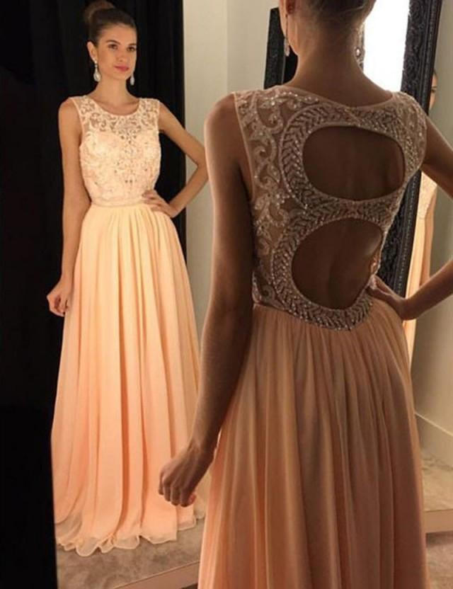 wedding photo - Stunning Round Neck Floor-Length Open Back Pleated Peach Prom Dress with Beading