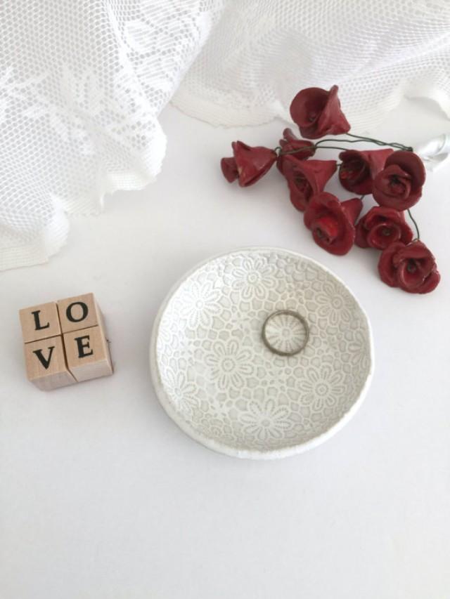 wedding photo - Home decor, Decoration, catch all, Jewelry holder, Ring dish, White ceramic, Wedding ring holder dish, Engagement gift, Bridal gift