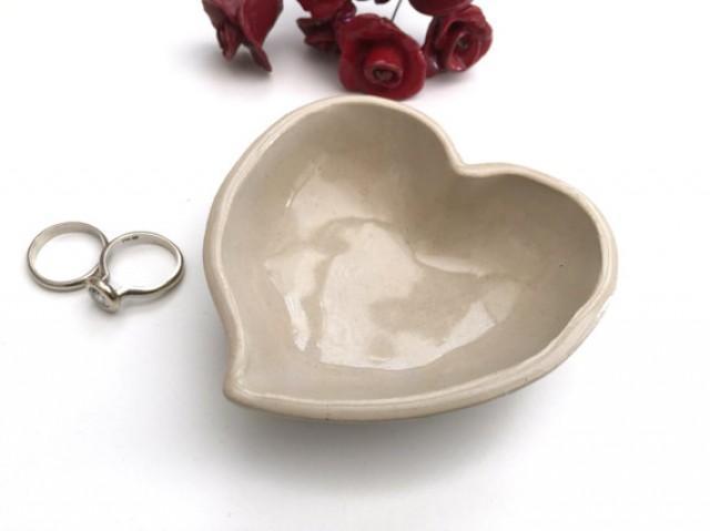 wedding photo - Ring holder, Ring dish, Engagement gift, Wedding ring holder, Bridal shower gift, Anniversary gift, Jewelry dish, Heart, Off white