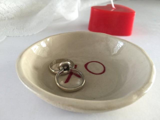 wedding photo - Ring holder, Ring dish, Engagement gift, Wedding gift, Wedding ring holder, Bridal shower gift, Anniversary gift,Jewelry dish,XO,Valentine