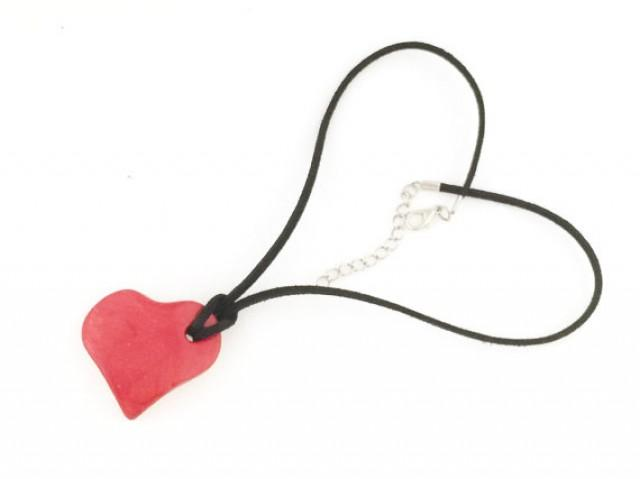 wedding photo - Red gift necklace, Red jewelry for her, Girlfriend gift necklace, Heart necklace,Romantic jewelry, Love necklace, Valentine's gift