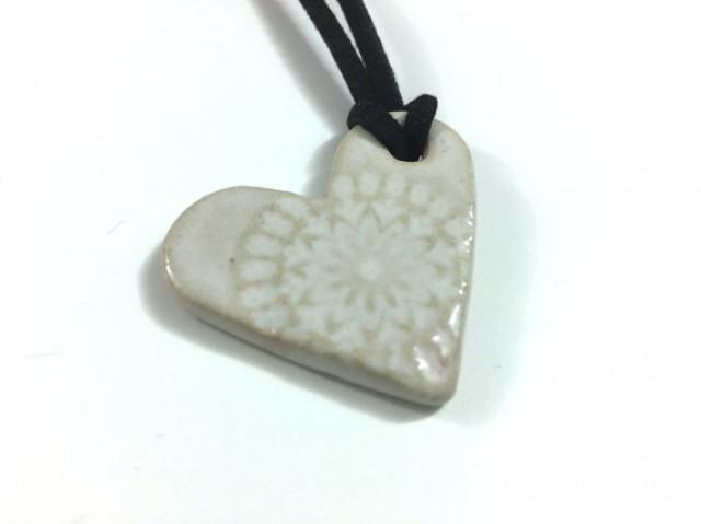 wedding photo - White heart necklace,Statement necklace,Romantic jewelry,Love necklace,Romantic necklace,Wife gifts,Romantic gift,Girlfriend gift,Valentine