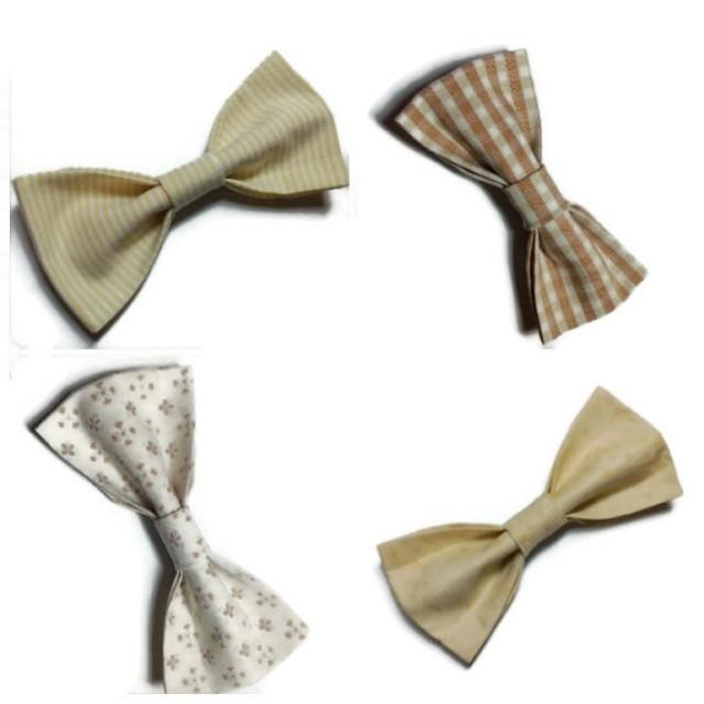wedding photo - Groomsmen gift set beige wedding bow ties mismatched bowties coordinating necktie groom bow tie cream sand tan checkered bow tie stripped