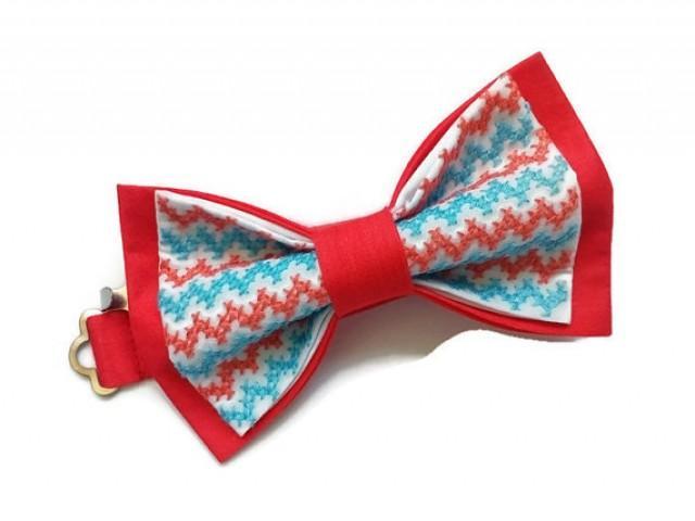 wedding photo - coral bow tie embroidered chevron bowtie coral blue pattern salmon wedding tie necktie groom gift baby boys photo prop mariage de saumon ЖЯ8