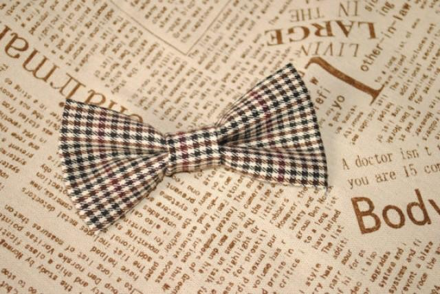 wedding photo - Boys wedding bow tie checkered bow tie gray pre tied bow tie self tie bow tie baby bow tie infant bow tie child bow tie photo prop ties djfi