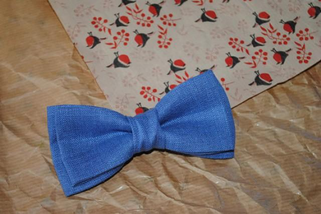 wedding photo - Cobalt linen bow tie Cobalt wedding necktie for groom Gift for groomsman Engagement gift Blue linen tie Boys wedding outfit Country wedding