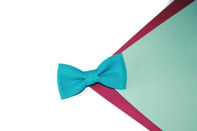 wedding photo - Turquoise wedding Turquoise bow tie Childrens bowtie For child Father of bride handkerchief Linen pocket For man Infant pocket Wedding ties
