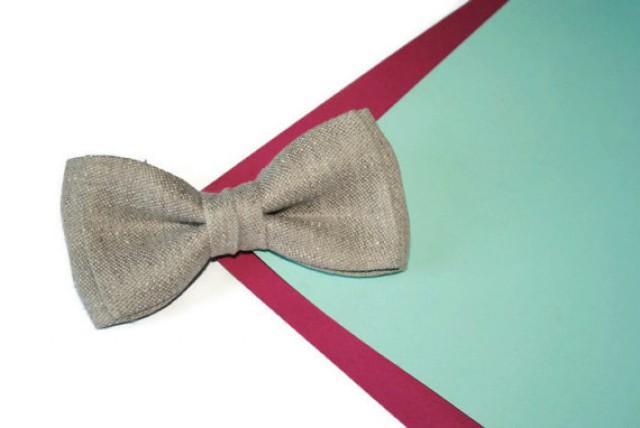 wedding photo - Gray wedding Gray linen bow tie Linen tie for men Wedding gifts idea for groomsmen Grey men's necktie Grey kids pocket square Grey baby tie