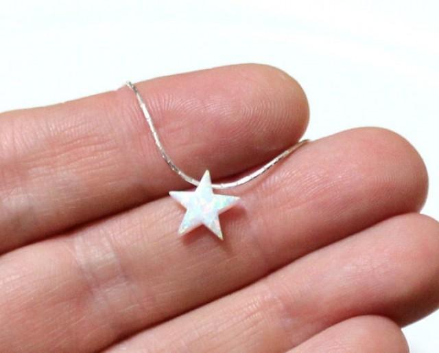 wedding photo - Opal Star Necklace, Opal Necklace, Opal Silver Necklace, Opal Jewelry, White Opal Necklace, Blue Star Opal Necklace, Simple Necklace
