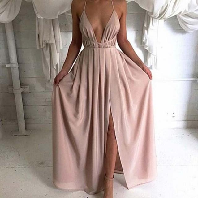 wedding photo - A-Line V-Neck Criss-Cross Straps Floor-Length Pleats Split Front Prom Dress