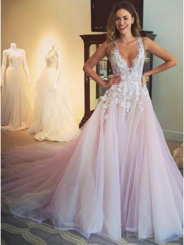 wedding photo - Buy Glamorous Lilac V-Neck Sleeveless Sweep Train Appliques Prom Dress Lilac, from for $499.99 only in Main Website.