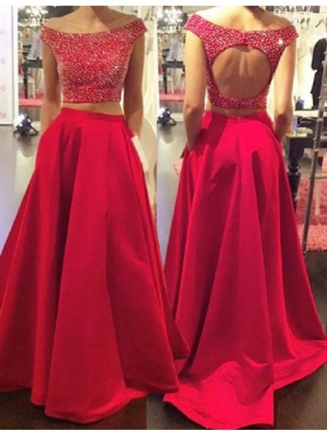 wedding photo - Buy A-Line Bateau Cap Sleeves Long Red Two Piece Prom Dress with Beading Red, from for $339.99 only in Main Website.