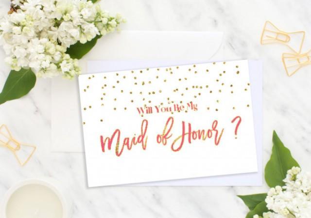 wedding photo - Will You Be My Maid of Honor Card Foil Bridesmaid confetti Wedding card Bridesmaid Gift Matron of Honor bridesmaid proposal idbm6