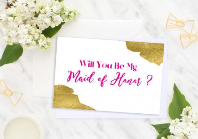 wedding photo - Will You Be My Maid of Honor Hot Pink Bridesmaid Card Bridesmaid Gift Wedding card Matron of Honor Flower Girl Wedding printable card idbm10