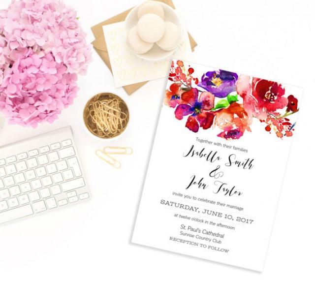 wedding photo - Wedding Invitation Printable Floral Wedding Invitation Summer Wedding Invitation kit download digital Spring custom Invite idw10
