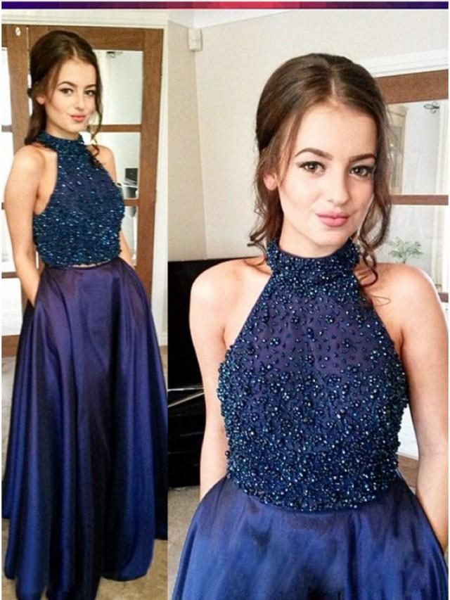 wedding photo - Buy Magnetic Navy Blue Two Piece Halter Floor-Length Beading Prom Dress Navy Blue, from for $424.99 only in Main Website.