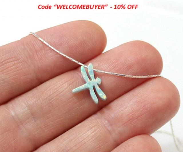 wedding photo - SALE Dragonfly Opal Necklace, Sterling Silver, Opal Dragonfly Jewelry, Dragonfly Charm, Dragonfly Pendant, Opal Jewelry, Dragonfly Jewelry