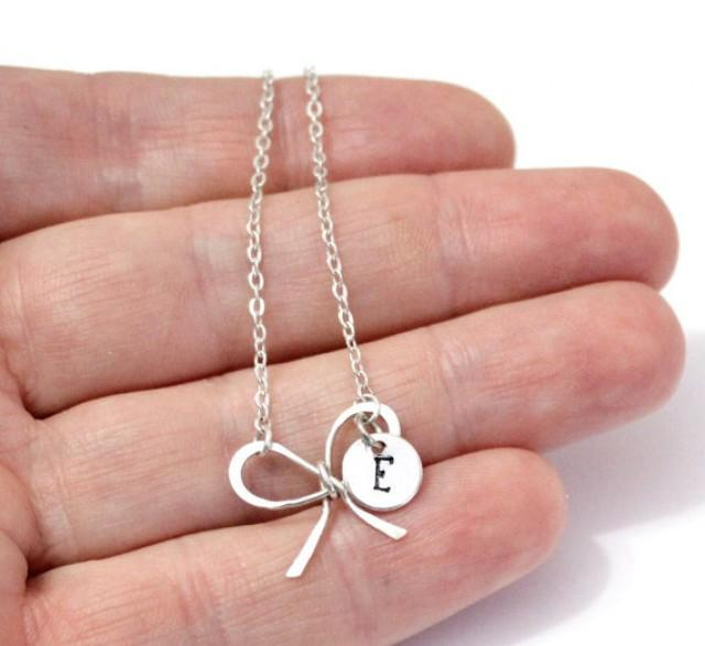 wedding photo - Sterling silver Bridesmaid Bow Knot Necklaces, With Personalized initial charm, Handmade Bridal Jewelry, Bridesmaid gift, Girlfriend gift