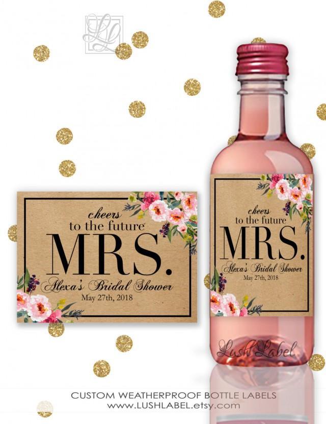bridal shower wine champagne mini bottle labels unique decor ideas