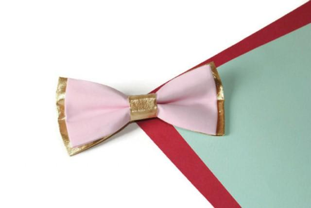 wedding photo - gold pink bow tie blush gold wedding bowtie groom's gold necktie blush groomsmen bow ties Easter family photo outfit youth boys bowtie hgft