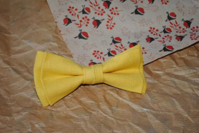 wedding photo - Yellow wedding Yellow tie Linen bow tie Bride groom Wediing necktie Father-inlaw pocket Sunny yellow Wedding dog collar Linen newborn bowtie