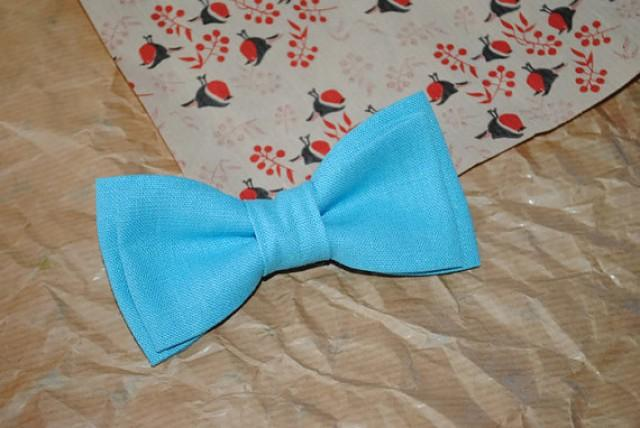 wedding photo - Blue linen bow tie Blue wedding groom's outfit Groomsmen gift set Blue linen self tie bowtie Anniversary gifts Hubby gift ideas Unusual ties