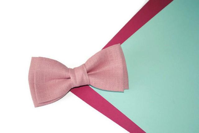 wedding photo - Dusty pink wedding Pale pink linen bow tie Father of the bride gift Groom gifts Groomsmen ties Linen pocket square Gifts for dad Gift ideas