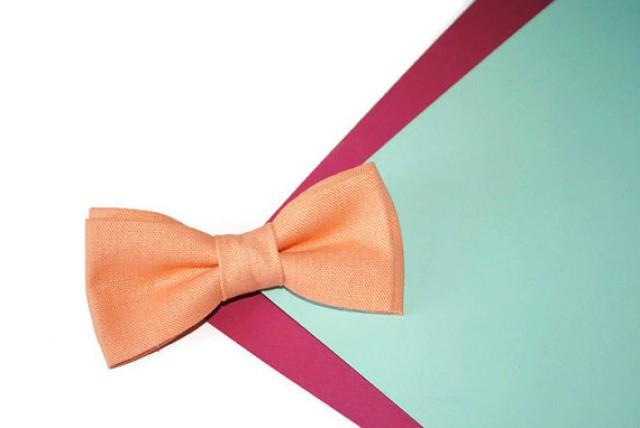 wedding photo - Peach wedding Peach bow tie Linen bow tie Linen tie for groom Dusty peach bowtie Groom necktie Groomsmen bow ties Peach linen pocket square
