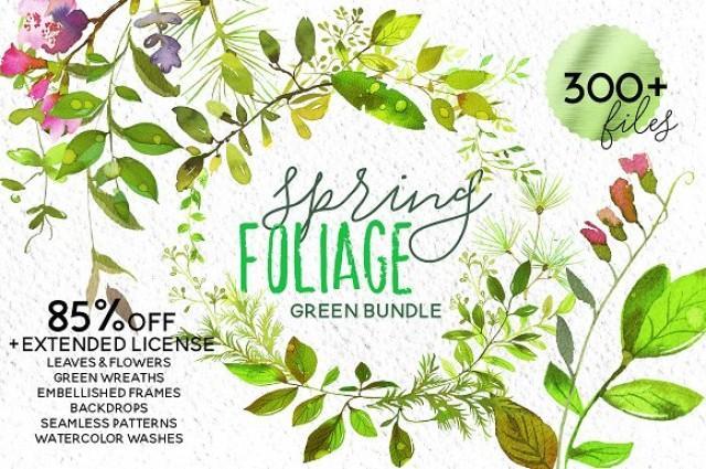wedding photo - Spring Foliage Watercolor Bundle
